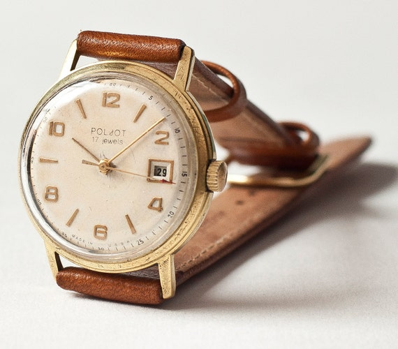 Unisex wristwatch  Poljot, gold plated, AU 20, Soviet Era