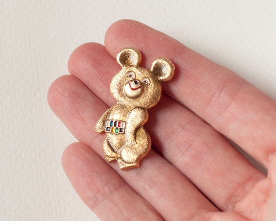 RESERVED Mascot Misha pin, rare Bear Cub from Olympics games in Moscow, gold tone metal
