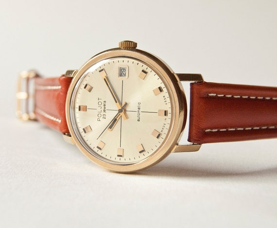 Automatic wrist watch Poljot, gold plated mens watch, brown tones, USSR