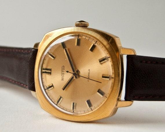 Vintage  mens watch Vostok, mechanical wristwatch, gold plated, Soviet Era
