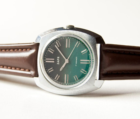 Unisex wristwatch Zarja, forest green dial, silver, brown tones, Soviet Era