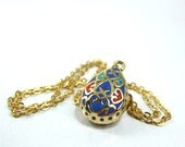 Gold teardrop  pendant necklace Victorian enamel blue handmade jewelry for her fashion jewelry boutique online