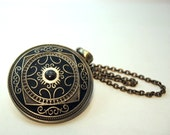 Big Gothic Medallion black brass pendant Medieval style Handmade special gift oriental style