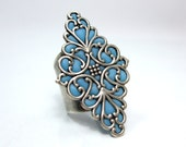 Long silver ring Light Blue jewelry handmade filigree silver bohemian jewelry stores online 2012