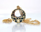 Gold victorian pendant dark green retro jewellry handmade