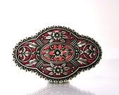 Art deco  brooch pin silver red handmade unique jewelry custom color enamel work