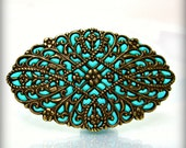 Teal pin brooch aqua brass old style jewelry handmade unique gifts for women designer jewelry stores2012