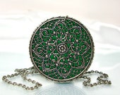 Silver medallion green necklace filigree jewelry old style jewelry custom color medieval jewelry stores handmade pendants