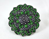 Brooch pin silver green  custom made jewelry flower old style jewelry unique gifts antique enamel jewelry