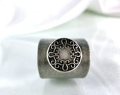 Wide ring silver rings boho chic  adjustable ring old style jewelry metal work  handmade jewelry ooak accessories