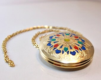 Gold Locket  gold jewelry victorian medallion  old style  jewlery handmade for her 2012 gold blue red