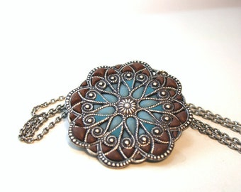 Big pendant,silver medallion , flower mandala, blue and brown, earth and sky, filigree enamel jewelry