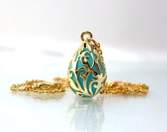 Drop necklace,  Victorian pendant,  teal gold necklace, enamel jewelry, handmade filigree, retro jewelry