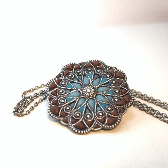 Big pendant,silver medallion , flower mandala, blue and brown, earth and sky, filigree enamel jewelry