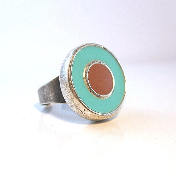 Boho ring silver rings round ring  teal  brown jewelry  handmade  unique gifts for her aqua rings jewelry stores