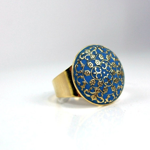 Gold blue ring imperial victorian style enamel work unique design handmade adjustable ring