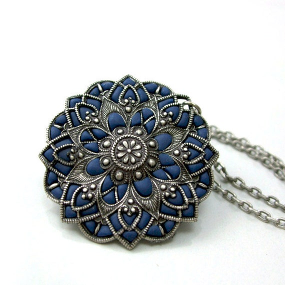 Navy blue necklace silver handmade mandala  flower pendant old style medallion unique bohemian jewelry store