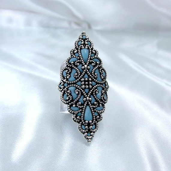 Long big ring silver blue filigree handmade statement rings knuckle adjustable rings retro jewelry for her