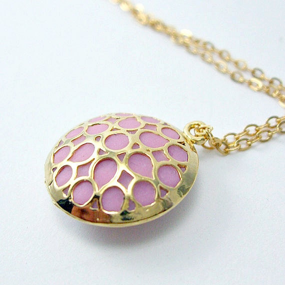 Gold filigree necklace pink enamel chain handmade unique jewelry
