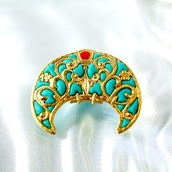 Teal gold brooch pin filigree jewelry victorian style handmade jewelry boutiques online