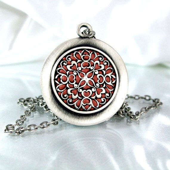Silver round medallion bronze handmade filigree old style jewelry summer 2012