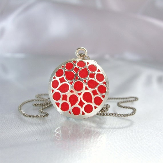 Red pendant silver round colorful chain handmade ooak jewelry