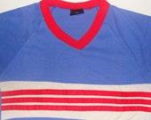 Vintage 80s Blue Retro V-Neck T Shirt