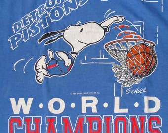Vintage  80s DETROIT PISTONS SNOOPY Basketball World Champions Tank T shirt