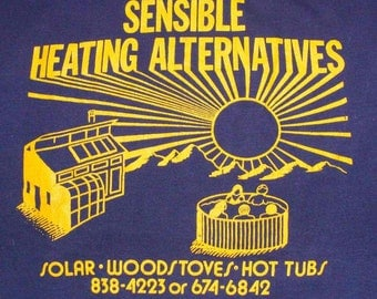 Vintage 80s Sensible Heating Alternatives Dark Blue T Shirt