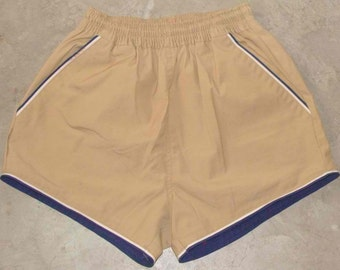 Vintage 80s Omega Brown Retro Shorts with White & Blue Lines