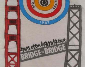 Vintage 87 Bridge to Bridge Big Brothers Sisters KNBR 68 Am City Sports White Ringer Marathon T Shirt