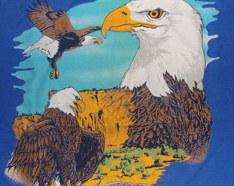 Vintage 80s Bald Eagle Blue T-Shirt