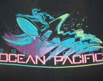 Vintage 88 Ocean Pacific Essences Surfing Black T shirt