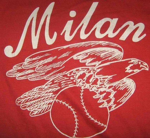Vintage 80s MILAN MICHIGAN Basketball Red T shirt