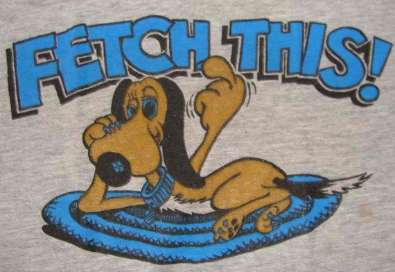 Vintage 80s Fetch This Funny Dog Gray T Shirt