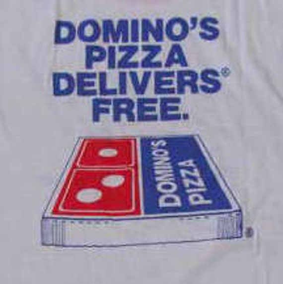 Vintage 80s Domino's Pizza We Are Here White Ringer T Shirt