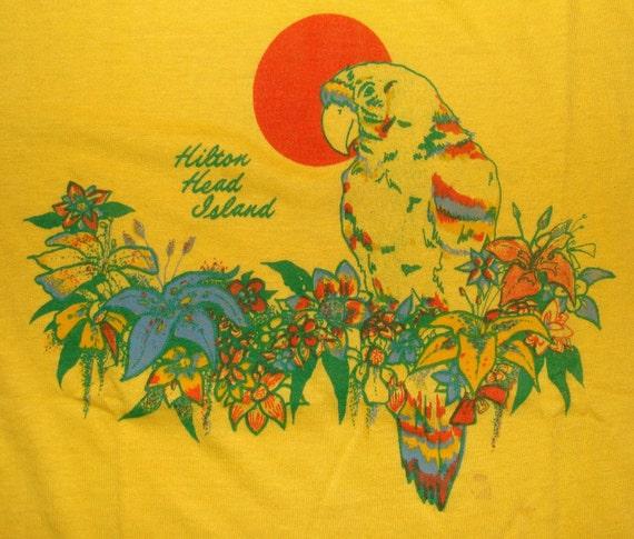 Vintage 80s Hilton Head Island Parrot Yellow T Shirt