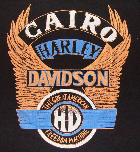 Vintage 90s Harley Davidson Cairo Egypt Black T-Shirt