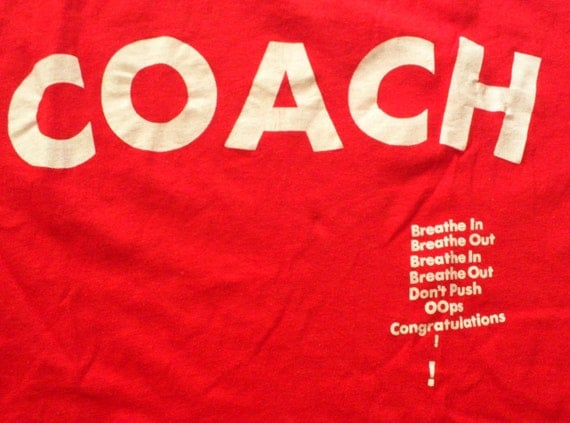 Vintage 80s Coach Breathe In Breathe Out Red T-Shirt