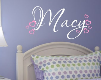 Custom Girls Name With Hearts Decals // Name With Hearts // Nursery Decals // Personalized Name // Girls Bedroom Decor // Heart Decor