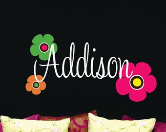 Teen Name Wall Decal  with Flowers - Name Wall Decal - Nursery Wall Decal - Girls Name Wall Decal