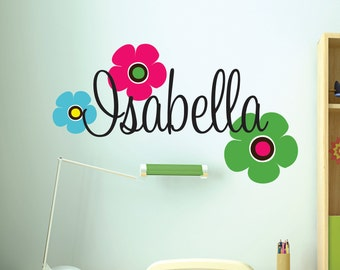 Children Wall Decals- Name Wall Decal - Wall Decal Nursery -  Teen Wall Decals - Flower Decals - Monogram Wall Decal
