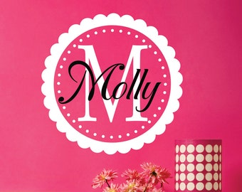 Custom Name Decal  // Nursery Wall Decal  //  Monogram Decal // Girls Name Wall Decal  // Nursery Decor