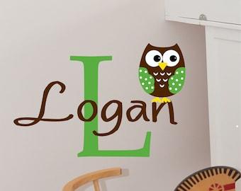 Custom Boys Name With Owl Decal // Custom Monogram // Boys Bedroom Art // Personalized // Nursery Decal // Baby Boy Decal