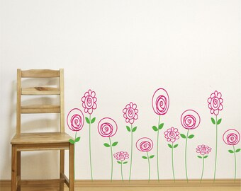 Doodle Wallflowers Decals // Doodle Flowers Art // Baby Girl Nursery // Wall Decals // Flower Vinyl Wall Decals // 12 Doodle Wallflowers