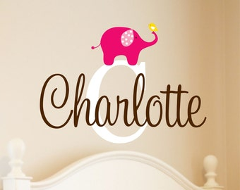 Vinyl Decal Nursery - Name Wall Decal - Elephant Wall Decal - Elephant Nursery - Baby Girl Name