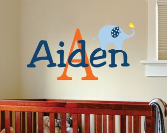 Elephant Wall Decal - Name Wall Decal - Baby Boy Nursery - Elephant Nursery