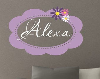 Nursery Wall Decal - Girls Name Wall Decal - Flowers Wall Decal for Baby Nursery or Bedroom