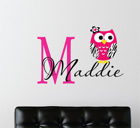 Childrens Decor Zebra Owl Wall Decal with Name -  Name Wall Decal - Girls Teen Bedroom - Childrens Wall Decals - Zebra Jungle Decals