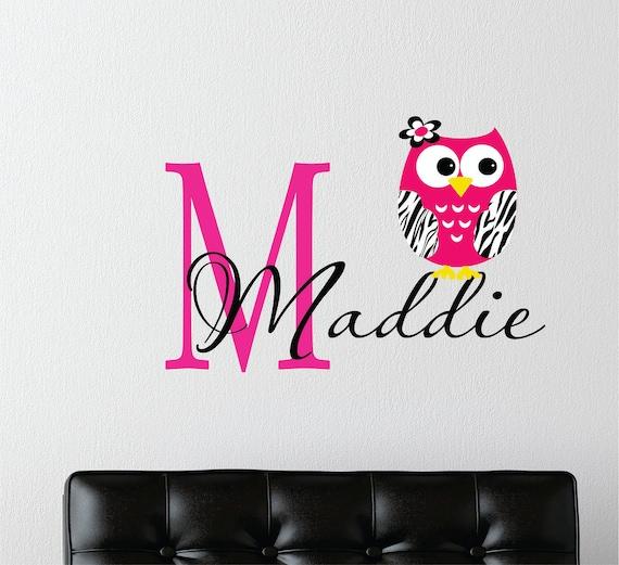 Childrens decor zebra owl wall decal with name name wall for Diy room decor zebra